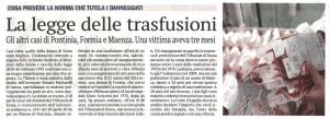 Il Giornale di Latina - La legge delle trasfusioni