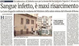 Sangue infetto maxi risarcimento il giornale di latina 12-05-16